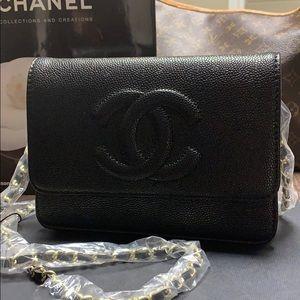 Handbags - Chanel black caviar wallet on chain